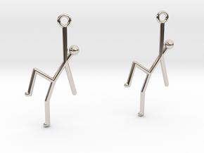 Stick Man Earrings in Rhodium Plated Brass