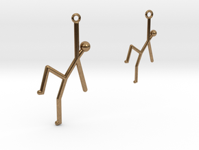 Stick Man Earrings-Asymmetrical in Natural Brass