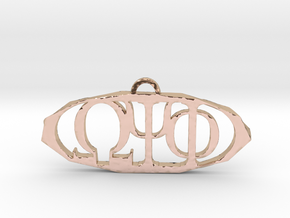 Omega Psi Phi Pendant in 14k Rose Gold Plated Brass
