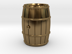 Wooden Barrel Wine Rundlet in Polished Bronze
