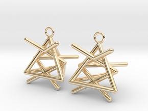 Pyramid triangle earrings type 1 in 14k Gold Plated Brass