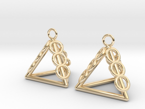 Pyramid triangle earrings serie 3 type 1 in 14k Gold Plated Brass