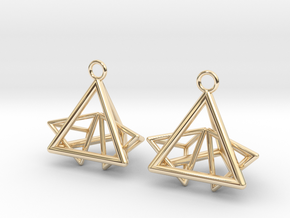Pyramid triangle earrings type 12 in 14k Gold Plated Brass