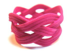 Turk's Head Knot Ring 4 Part X 5 Bight - Size 7.5 in Pink Processed Versatile Plastic