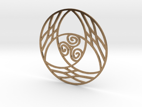 Triquetra with Triskele Pendant in Natural Brass