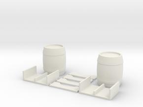 Dual Barrels And Cradles #1 in White Natural Versatile Plastic