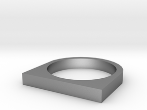 Rectangular Basic Ring in Natural Silver