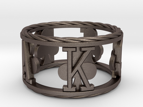 Royal Flush Clubs Ring in Polished Bronzed Silver Steel: 8 / 56.75