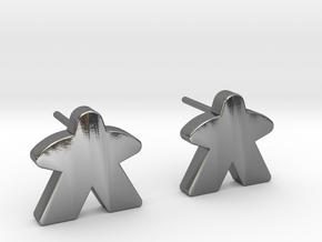 Meeple Earrings (studs) in Polished Silver