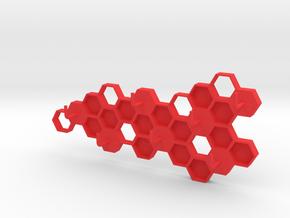 Honeycomb Key Hanger  in Red Processed Versatile Plastic