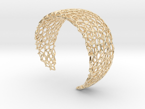 Voronoi Cuff Bracelet - Medium sized cells in 14K Yellow Gold