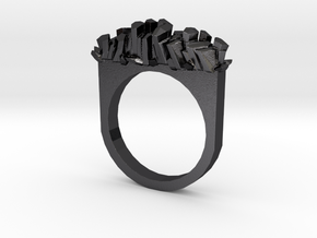 Rock Crystal Ring- Flat in Polished and Bronzed Black Steel