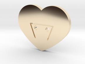 Moon-glyph-heart-earth in 14k Gold Plated Brass
