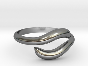 Resizable Ring Wave  in Fine Detail Polished Silver