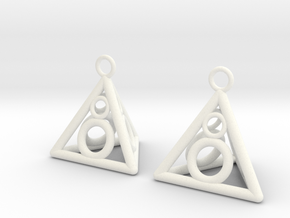 Pyramid triangle earrings serie 3 type 3 in White Processed Versatile Plastic