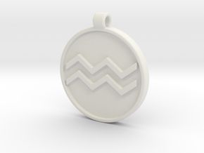 Zodiac KeyChain Medallion-AQUARIUS in White Natural Versatile Plastic
