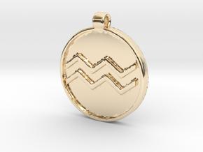 Zodiac KeyChain Medallion-AQUARIUS in 14K Yellow Gold