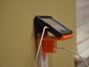The Phelf (Phone Charging Shelf) in Orange Processed Versatile Plastic