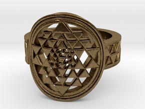 New Design Sri Yantra Ring Size 9 in Natural Bronze
