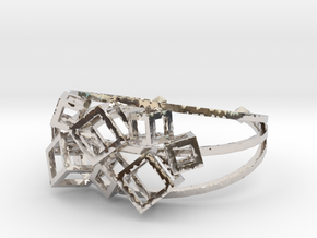 Cube Cuff in Rhodium Plated Brass