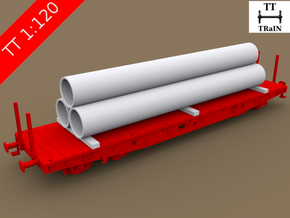 TT Scale Smmps Wagon Steel Tubes Cargo in Smooth Fine Detail Plastic