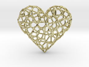 Voronoi Heart pendant (version 1) in 18k Gold