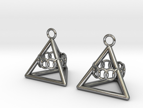 Pyramid triangle earrings serie 3 type 6 in Polished Silver