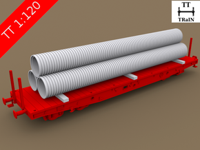 TT Scale Smmps Wagon Plastic Tubes Cargo in Frosted Ultra Detail