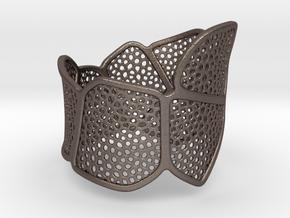 Double Voronoi Bracelet (v1) in Polished Bronzed Silver Steel