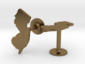 New Jersey State Cufflinks in Natural Bronze