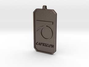 Zodiac Dogtag/KeyChain-CAPRICON in Polished Bronzed Silver Steel