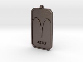 Zodiac Dogtag/KeyChain-ARIES in Polished Bronzed Silver Steel