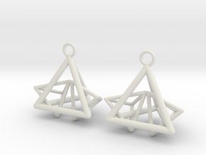 Pyramid triangle earrings type 12 in White Natural Versatile Plastic