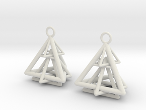 Pyramid triangle earrings type 15 in White Natural Versatile Plastic