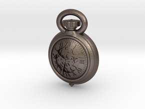 Pocket Watch Half Inch Game Piece in Polished Bronzed Silver Steel
