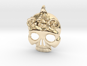 BlakOpal Skull with Rose Crown Charm in 14k Gold Plated Brass