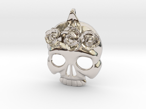 BlakOpal Skull with Rose Crown Charm in Rhodium Plated Brass