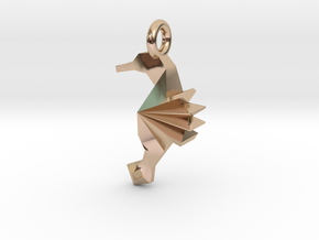 Origami Seahorse in 14k Rose Gold Plated Brass