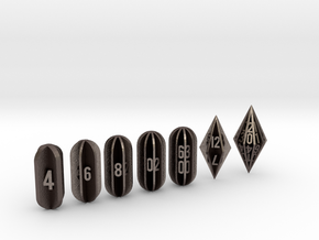 Radial Fin Dice in Polished Bronzed Silver Steel: Polyhedral Set