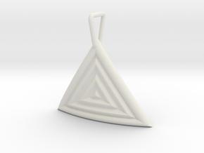 Triangular Ripple Pendant in White Natural Versatile Plastic