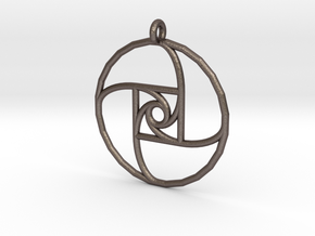 Square Spiral Pendant in Polished Bronzed Silver Steel