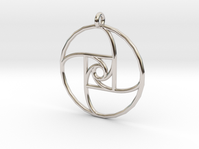 Square Spiral Pendant in Rhodium Plated