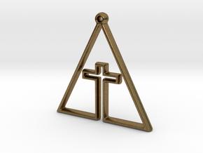 CROSS IN TRI in Natural Bronze