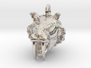 Saber toothed cat pendant in Rhodium Plated Brass