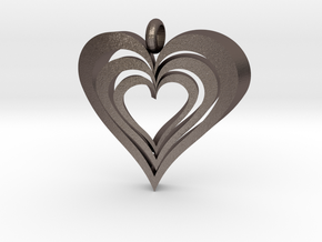 Interlocked Hearts Pendant in Polished Bronzed Silver Steel