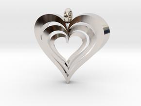 Interlocked Hearts Pendant in Rhodium Plated Brass