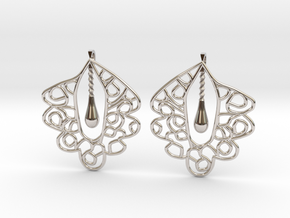 Granada Earrings (Plane Shape). in Rhodium Plated Brass