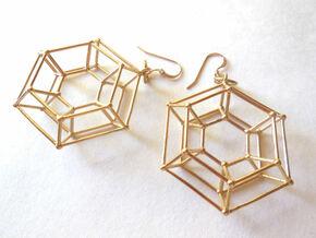 Steampunk Donut Earrings  in Polished Brass