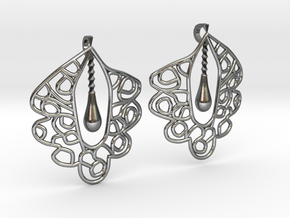 Granada Earrings (Curved Shape). in Polished Silver