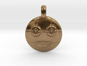 3D Sculpted Robot Head Pendant  in Natural Brass